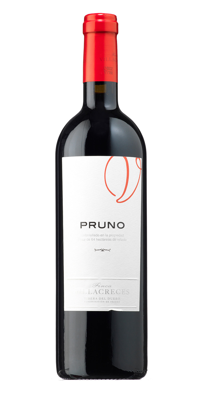 Botella del vino tinto Pruno 2019