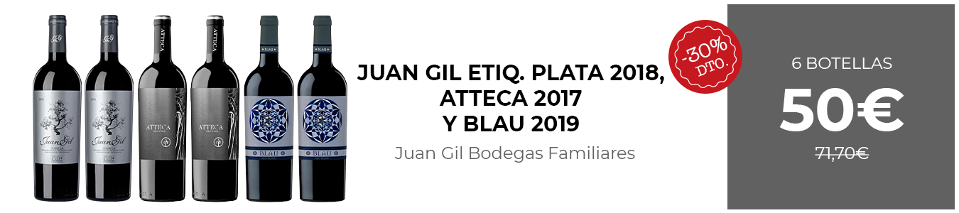 Juan Gil Etiqueta Plata 2018, Atteca 2017 y Blau 2019